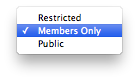 Newsletter Access Options.  Public, Members Only, Restricted